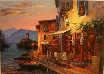 Dinner at Lake Garda European Towns Oil Paintings