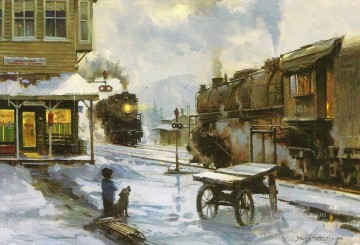 by railway Oil Paintings