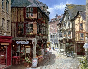 Europe Street Houses European Towns Oil Paintings