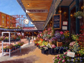 Market Center European Towns Oil Paintings