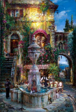 European Towns Painting - cafe by fountain seaside