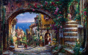 European Towns Painting - floral town seaside