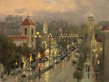 Plaza Lights Kansas City cityscape Oil Paintings