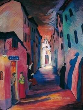 nightspot Marianne von Werefkin cityscape city scenes Oil Paintings