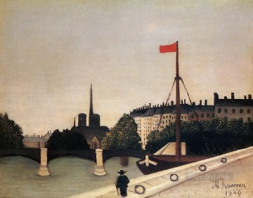 notre dame view of the ile saint louis from the quai henri iv 1909 Henri Rousseau city Oil Paintings