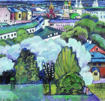 urban landscape 1911 Ilya Mashkov cityscape city scenes Oil Paintings