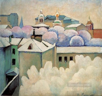 urban winter landscape 1914 Ilya Mashkov cityscape city scenes Oil Paintings