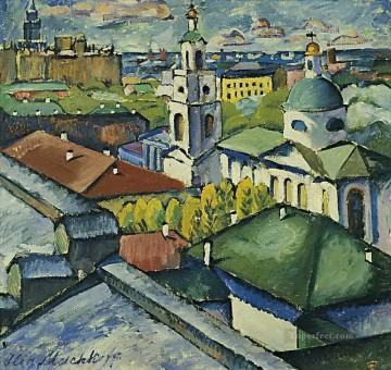 view of moscow myasnitsky district 1913 Ilya Mashkov cityscape city scenes Oil Paintings