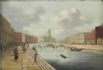 A view of the River Liffey Dublin by William Sadler city Oil Paintings