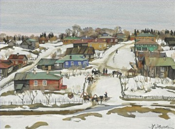 EARLY SPRING IN THE VILLAGE Konstantin Yuon cityscape city scenes Oil Paintings
