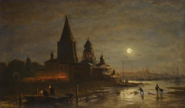 NIGHT PROCESSION IN YAROSLAVL Alexey Bogolyubov cityscape city views Oil Paintings