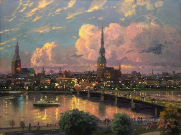 Sunset over Riga cityscape Oil Paintings
