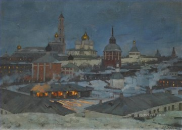 TRINITY AND ST SERGIUS MONASTERY BY MOONLIGHT Konstantin Yuon cityscape city scenes Oil Paintings