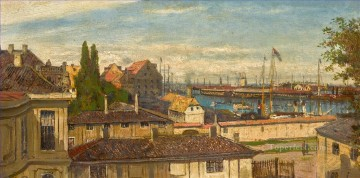 View of Naval Port at Copenhagen from Windows of Amalienborg Palace Alexey Bogolyubov cityscape Oil Paintings