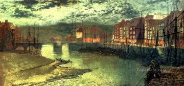 Whitby Docks city scenes landscape John Atkinson Grimshaw cityscapes Oil Paintings