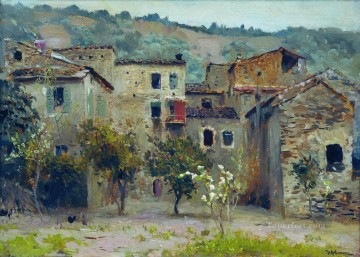 Italy Works - in the vicinity of bordiguera in the north of italy 1890 Isaac Levitan cityscape city scenes