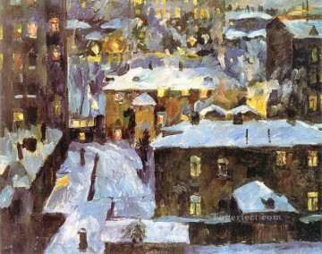 lake pond Painting - night at patriarch s ponds 1928 Aristarkh Vasilevich Lentulov cityscape city scenes