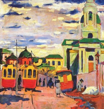 street moscow 1910 Aristarkh Vasilevich Lentulov cityscape city scenes Oil Paintings
