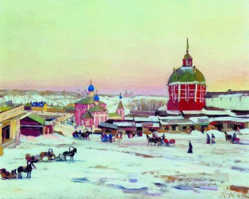 zagorsk market square 1943 Konstantin Yuon cityscape city scenes Oil Paintings