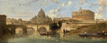 CASTLE AND BRIDGE OF ST ANGELO ROME Italy David Roberts RA cityscape Oil Paintings