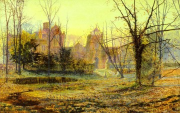 Evening Knostrop Old Hall city scenes landscape John Atkinson Grimshaw cityscapes Oil Paintings