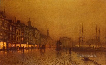 Other Urban Cityscapes Painting - Greenock Dock city scenes John Atkinson Grimshaw cityscapes