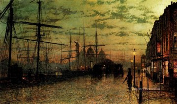 Other Urban Cityscapes Painting - Humber Docks Hull city scenes John Atkinson Grimshaw cityscapes