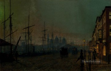 Other Urban Cityscapes Painting - Humber Dockside Hull city scenes John Atkinson Grimshaw cityscapes