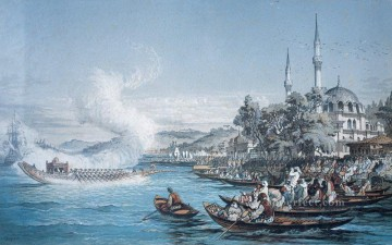 Istanbul boats Amadeo Preziosi Neoclassicism Romanticism city Oil Paintings