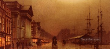 Liverpool Customs House city scenes John Atkinson Grimshaw cityscapes Oil Paintings