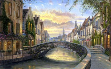 Other Urban Cityscapes Painting - Reflections of Belgium cityscapes