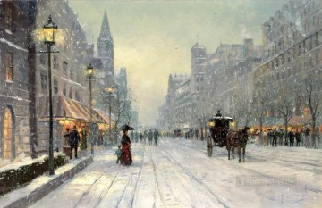 Winter Dusk cityscape Oil Paintings