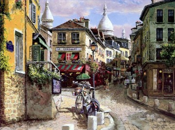 cityscape shops Oil Paintings