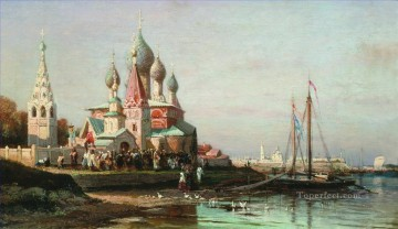 easter procession in yaroslavl 1863 Alexey Bogolyubov cityscape city scenes Oil Paintings