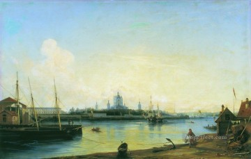 smolny as seen from bolshaya okhta 1851 Alexey Bogolyubov cityscape city scenes Oil Paintings