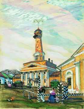 square in krutogorsk 1915 Boris Mikhailovich Kustodiev cityscape city scenes Oil Paintings