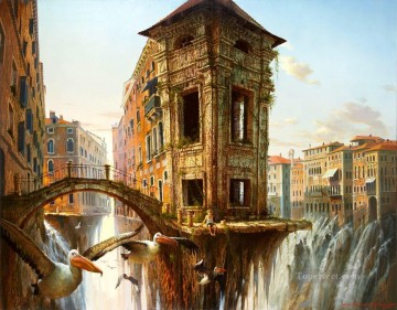 Cristina Faleroni fantastic cityscape Oil Paintings