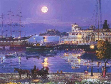 Other Urban Cityscapes Painting - Full Moon urban