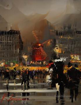 Other Urban Cityscapes Painting - KG Evening at Moulin Rouge cityscapes