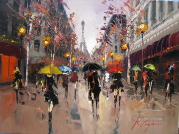 Other Urban Cityscapes Painting - KG Romance in Paris cityscapes
