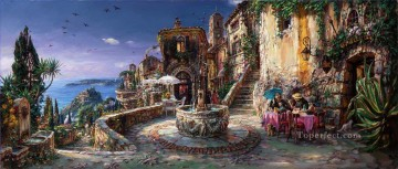Artworks in 150 Subjects Painting - Mediterranean Sunrise street cafe