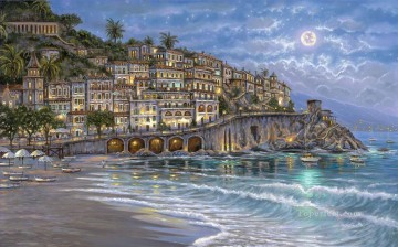Starry Night in Amalfi cityscapes Oil Paintings
