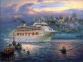 The Rising Fog cityscape modern city scenes ship cruise