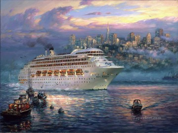 The Rising Fog cityscape modern city scenes ship cruise Oil Paintings