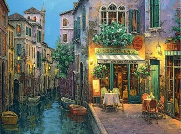 Trattoria shop cityscape modern city scenes Oil Paintings