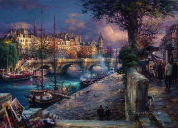 cityscape riverside Oil Paintings