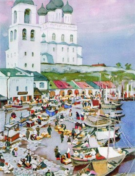 near the pskov s cathederal 1917 Konstantin Yuon cityscape city scenes Oil Paintings