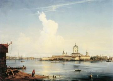 smolny as seen from bolshaya okhta 1852 Alexey Bogolyubov cityscape city scenes Oil Paintings