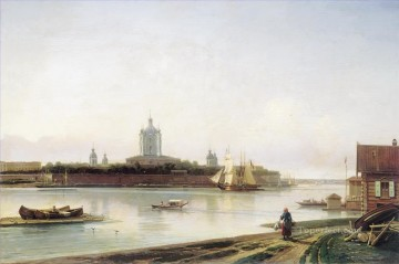 smolny as seen from bolshaya okhta Alexey Bogolyubov cityscape city scenes Oil Paintings
