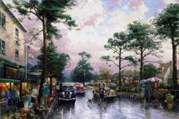 Carmel Ocean Avenue on a Rainy Afternoon cityscape Oil Paintings